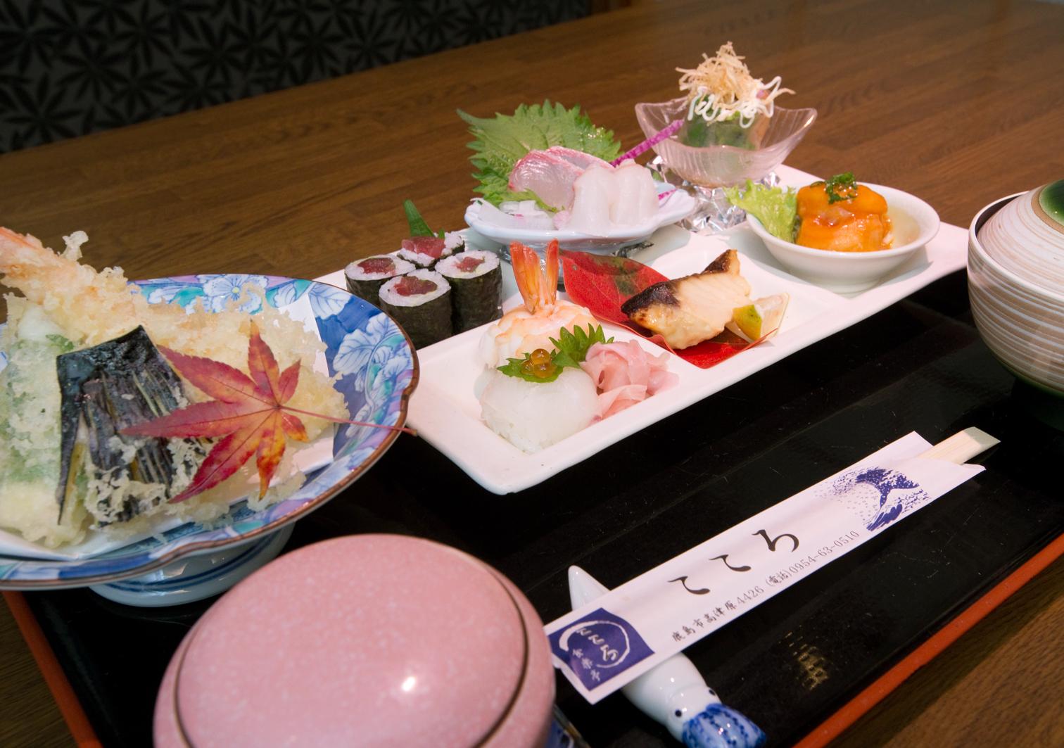 レディースランチは刺身や手まり寿司、焼魚などお手頃サイズで楽しめる料理です。