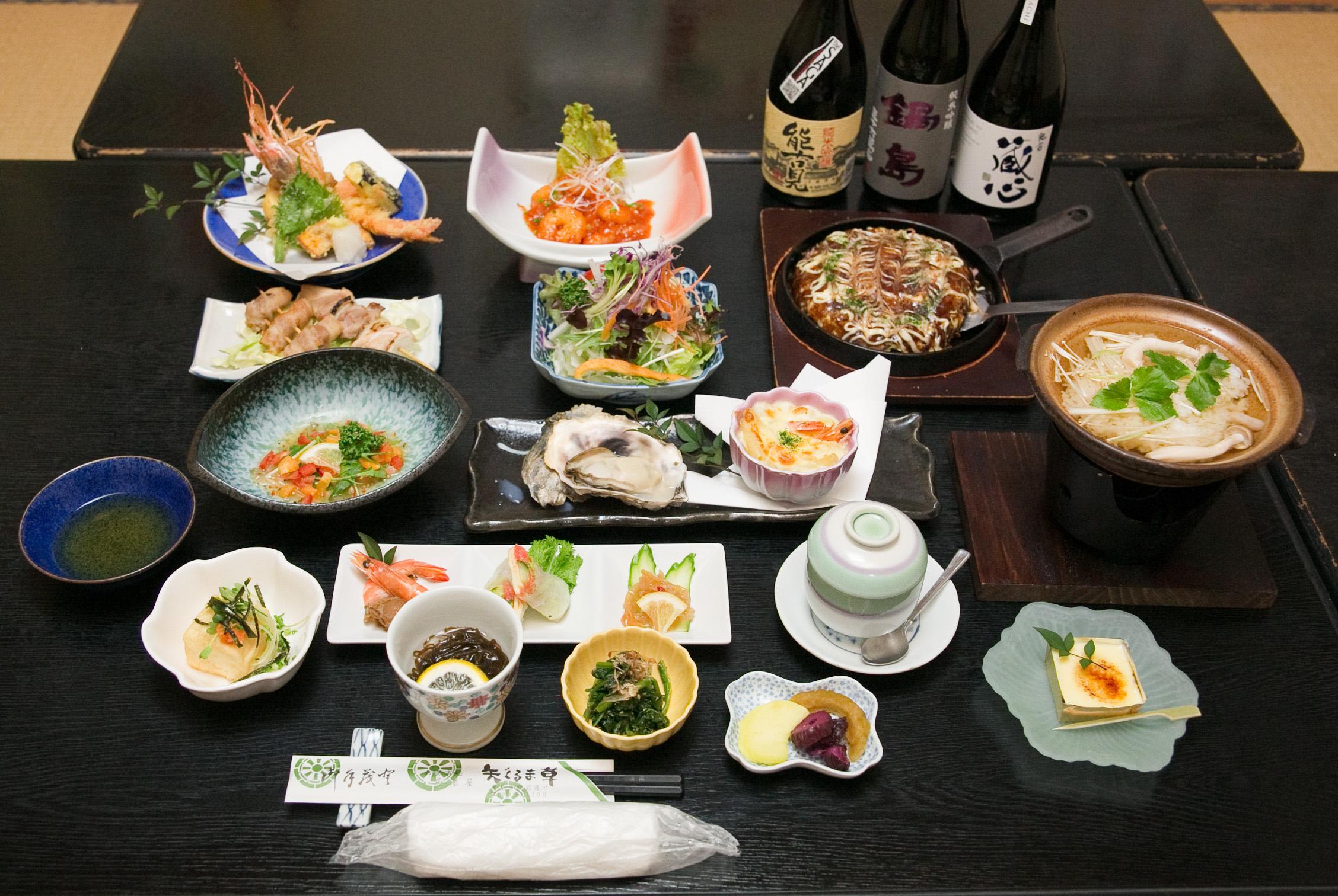 前菜、カルパッチョ、串焼、サラダ、茶碗蒸し、酢の物、鉄板焼、揚物、その日の1品、雑炊、デザート