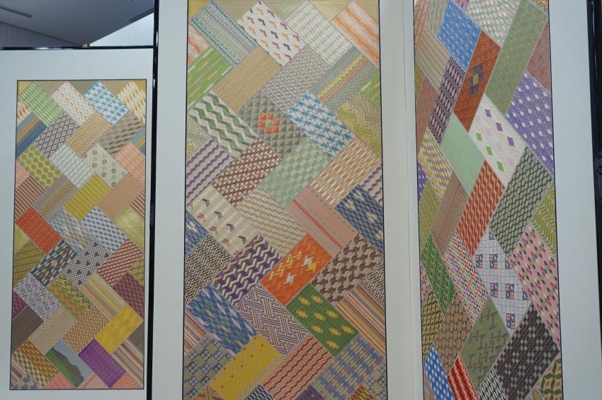 鹿島錦保存会50周年を記念した屏風