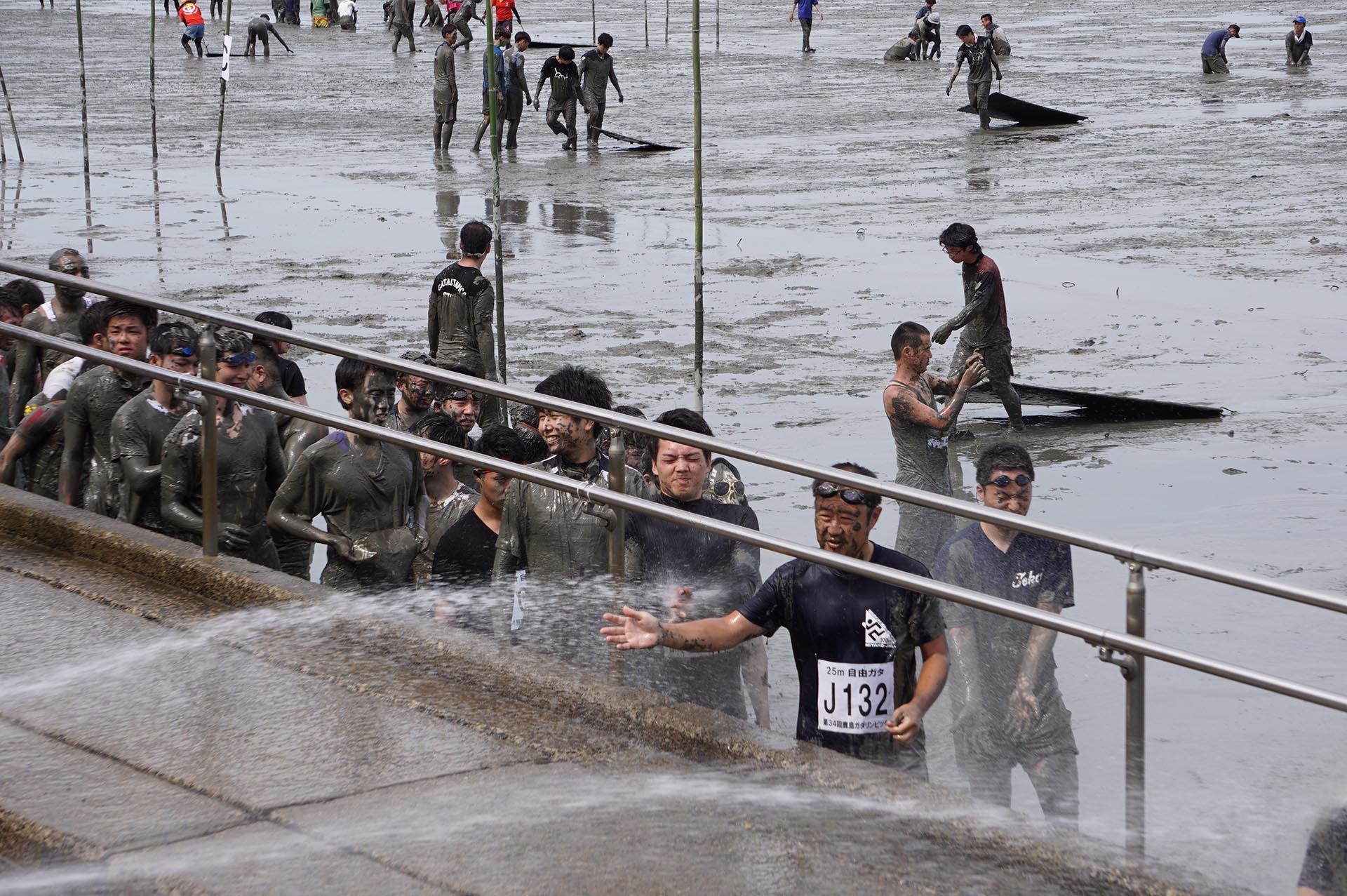ガタリンピック終了後のシャワー