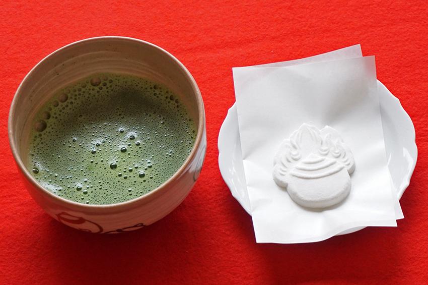 祐徳稲荷神社日本庭園の抹茶
